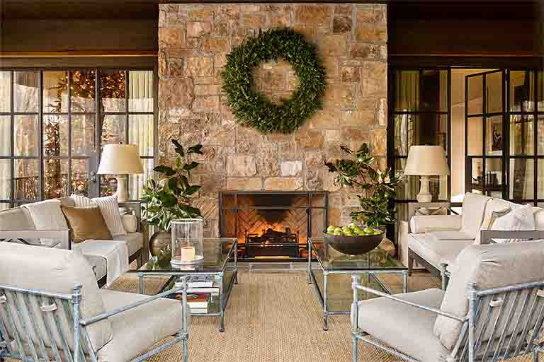 Outdoor Fireplace Design - Blackberry Farm Smoky Mountain Home - R.Higgins Interiors