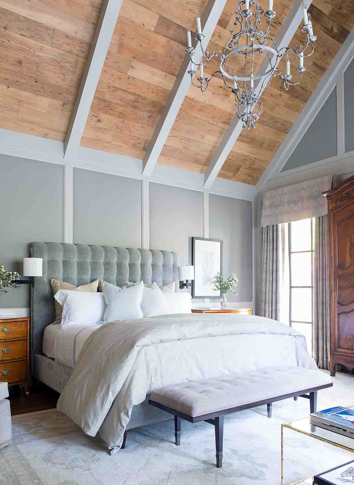 Wood-paneled Master Bedroom - Blackberry Farm Smoky Mountain Home - R.Higgins Interiors Design