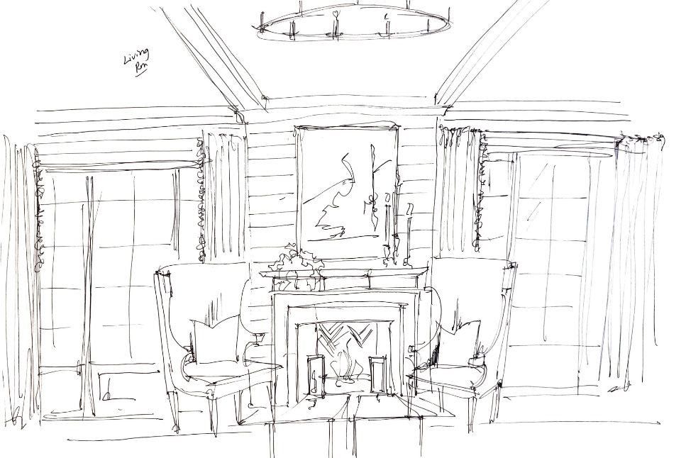 Roger Higgins Design Sketch Blackberry Farm Living Room