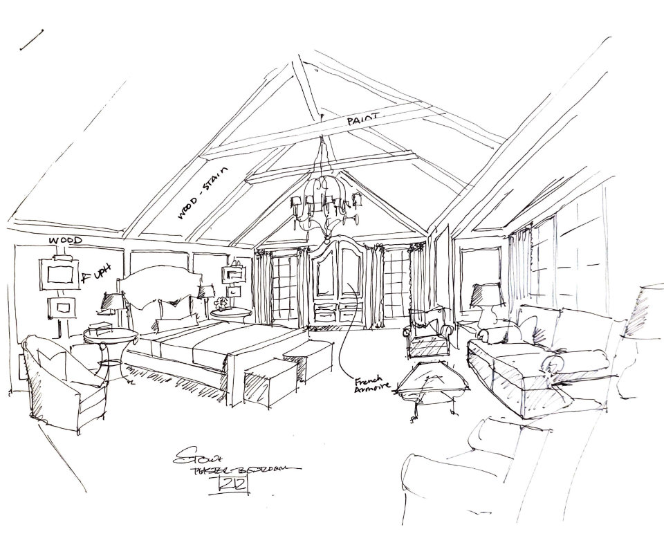 Roger Higgins Design Sketch Blackberry Farm Master Bedroom
