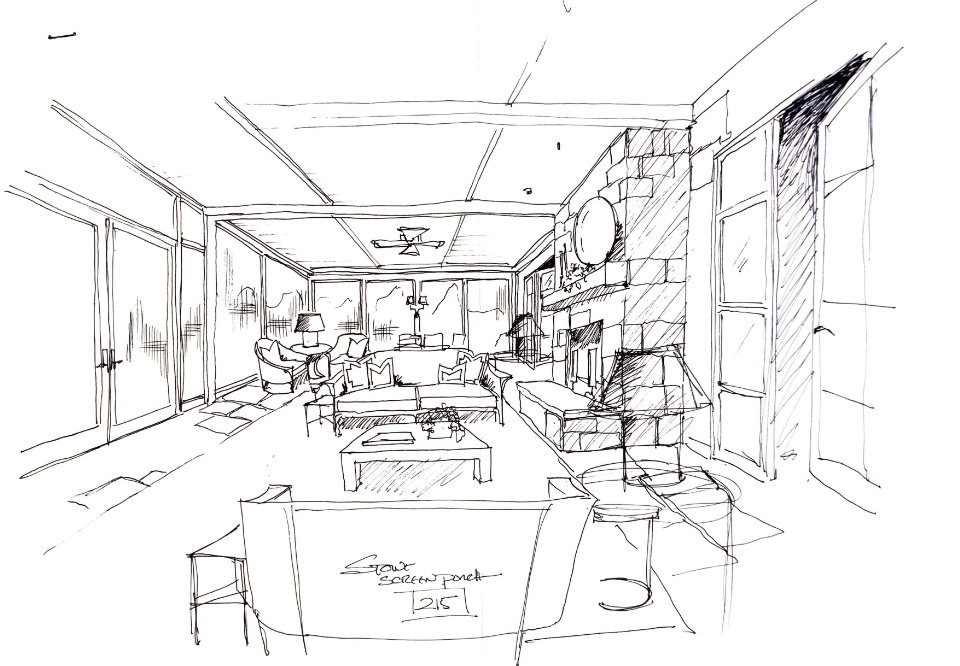 Roger Higgins Design Sketch Blackberry Farm Screened Porch