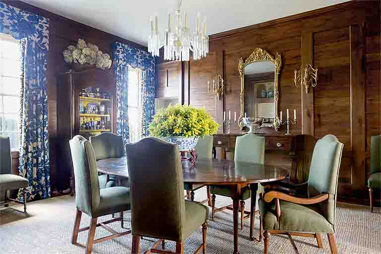 Paneled Dining Room Design - Historic Natchez Trace Home - R.Higgins Interiors
