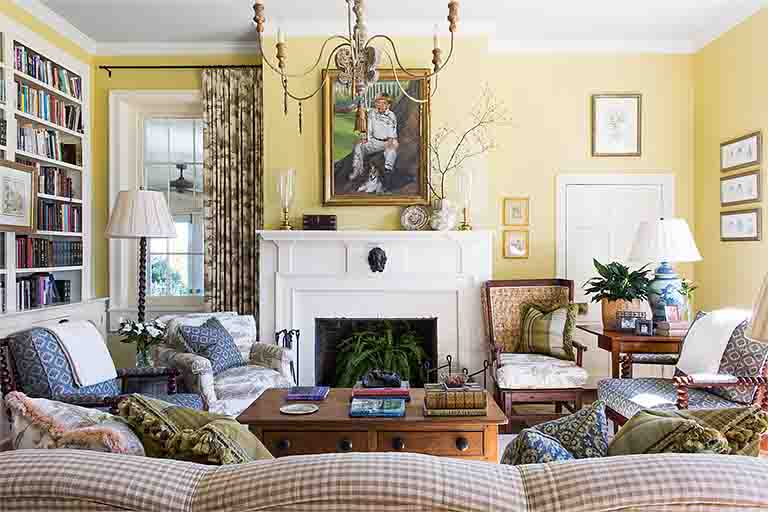 Yellow Living Room Design - Historic Natchez Trace Home - R.Higgins Interiors