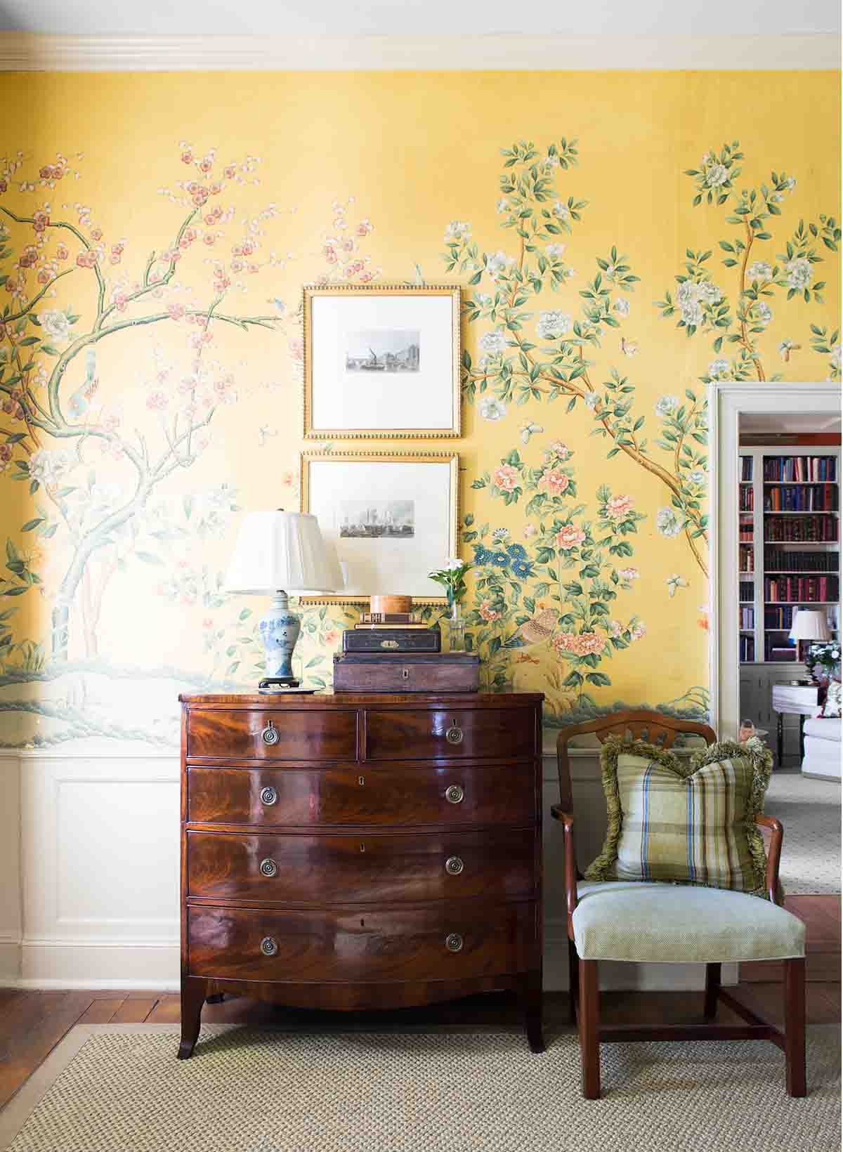 Antique Wallpaper - Historic Nashville Home - R.Higgins Interiors Design