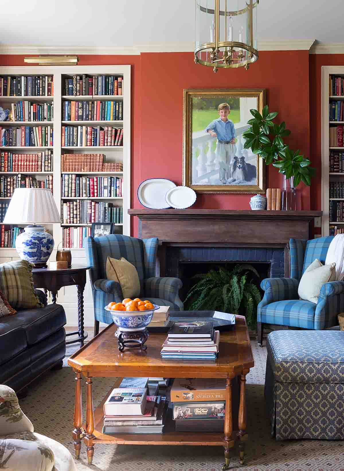 Red Living Room Design - Historic Nashville Home - R.Higgins Interiors