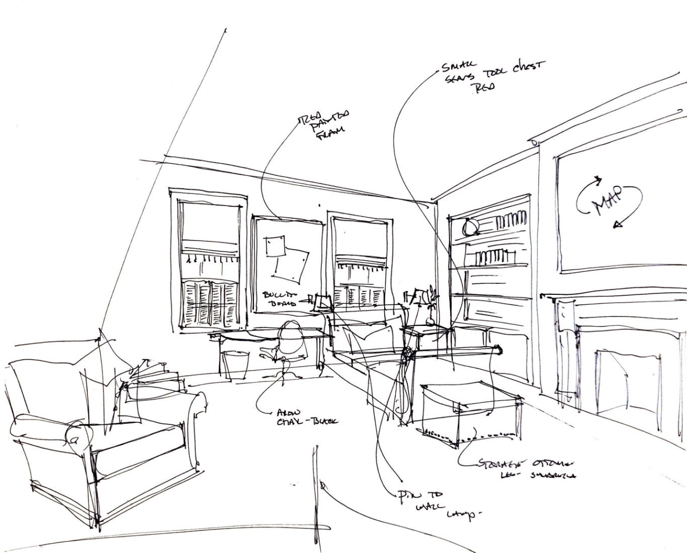 Roger Higgins Design Sketch Natchez Trace Boys Bedroom