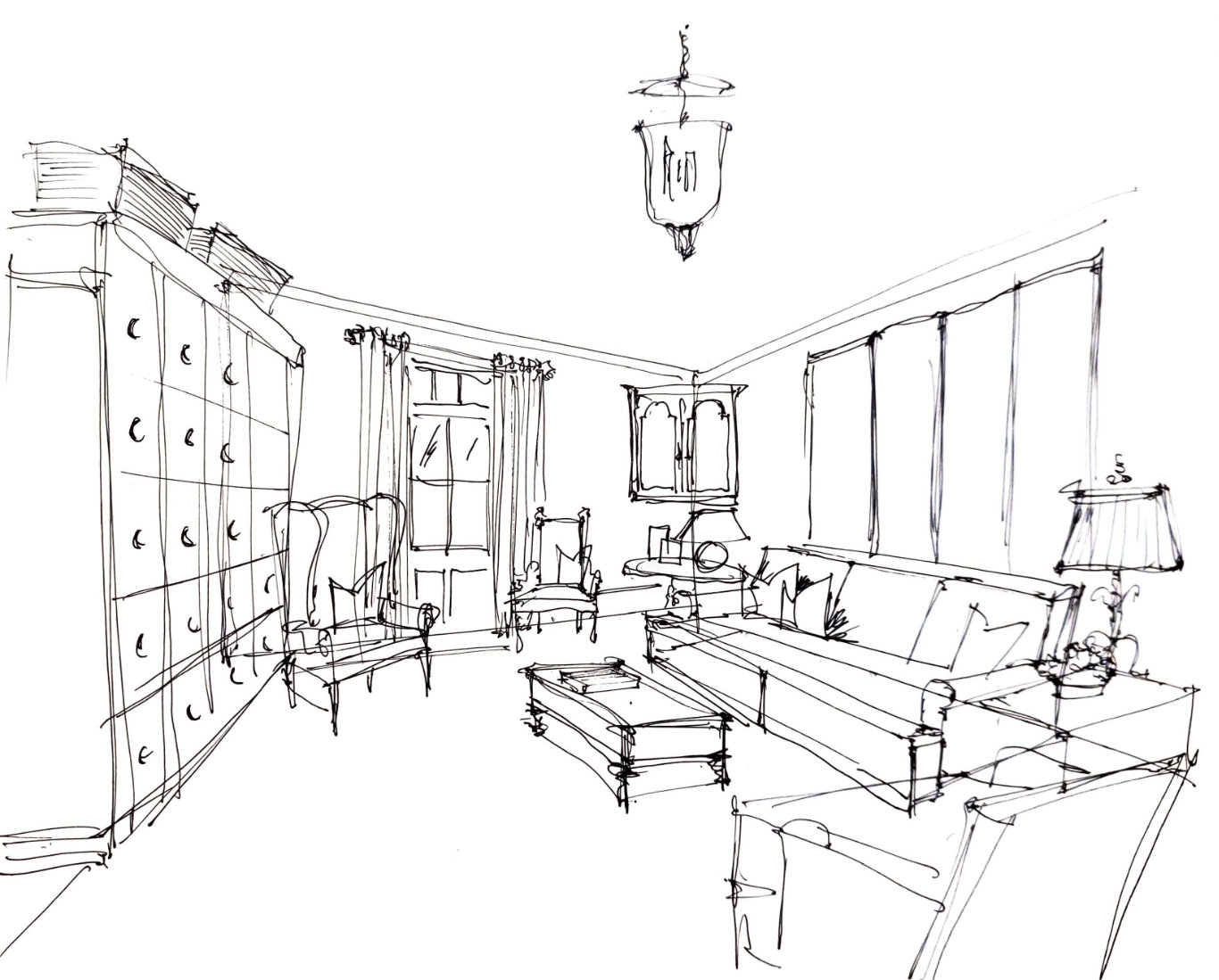 Roger Higgins Design Sketch Natchez Trace Living Room