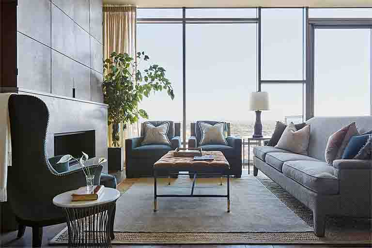 Living Room Design - Nashville Penthouse - R.Higgins Interiors