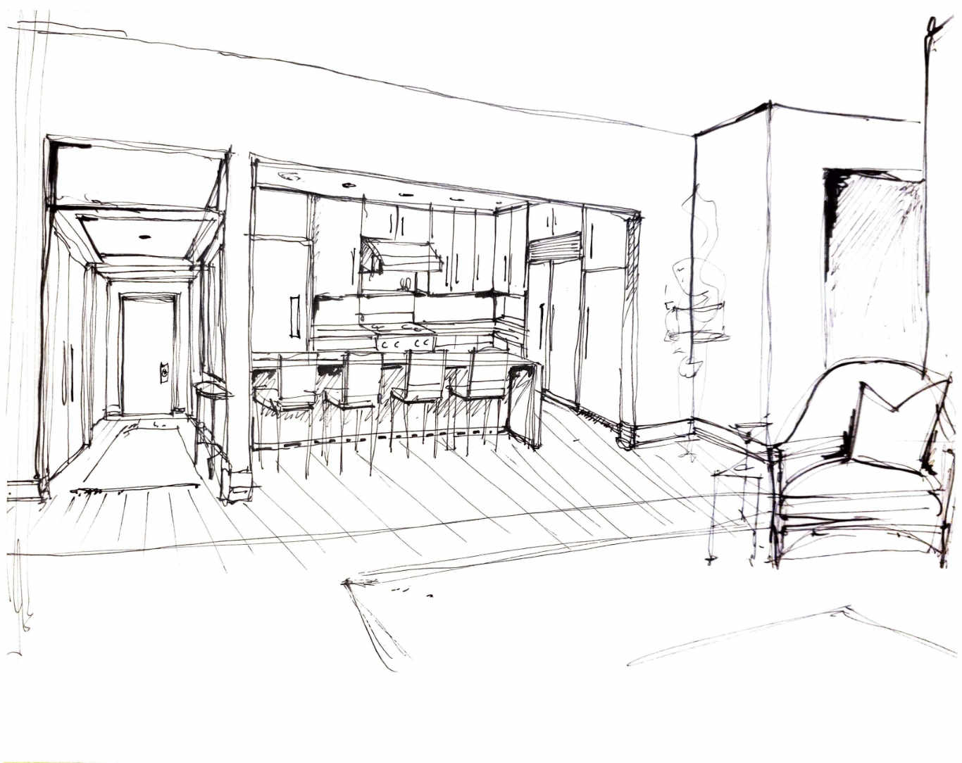 Roger Higgins Design Sketch Twelve Twelve Kitchen Island View
